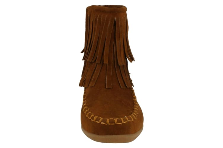 Spot On Childrens Girls Flat Fringe Ankle Boots (Tan Suedette) (UK Size 4)