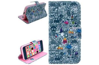 For iPhone 5C Wallet Case  Graffiti Pattern Durable Leather Shielding Cover
