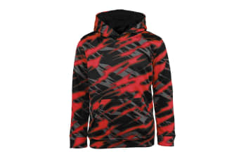 Champion Boys' Printed Performance Pullover Hoodie (Red/Black Zig Zag, Size L)