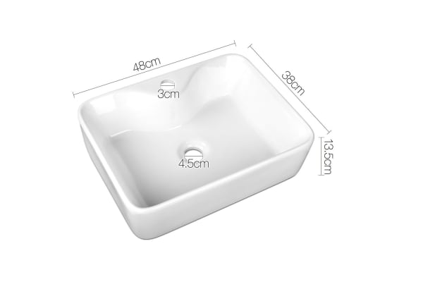 Ceramic Sink Rectangle (White) 480 x 380