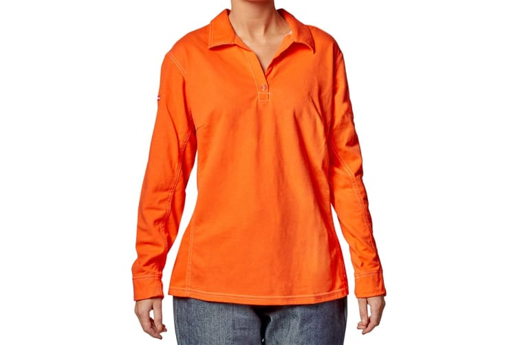 Hard Yakka Women's Bulwark iQ Flame Resistant Hi-Vis Long Sleeve Polo (Orange, Size L)