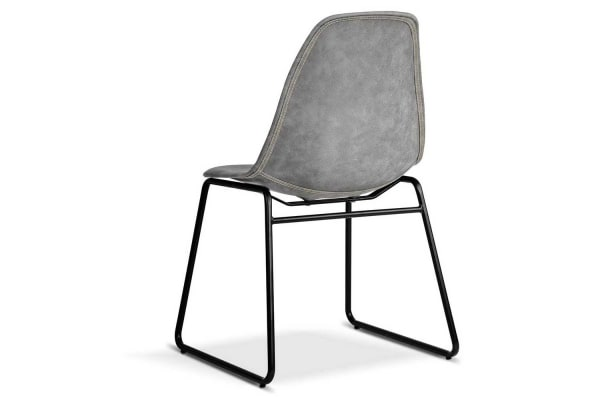 Set of 2 PU Leather Dining Chairs (Grey)