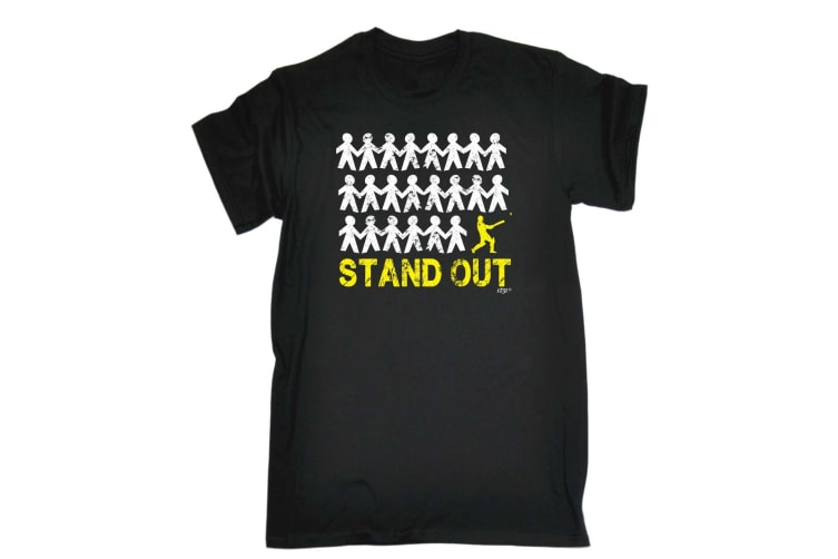 123T Funny Tee - Stand Out Cricket - (Large Black Mens T Shirt)