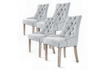 2X French Provincial Oak Leg Chair AMOUR - GREY