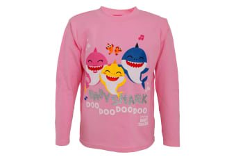 Baby Shark Childrens/Girls Official Baby Shark And Family Glitter Long Sleeve Top (Pink)