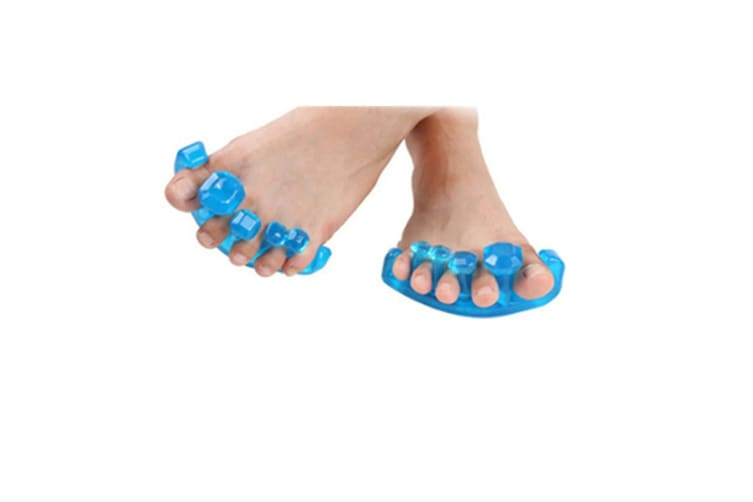 Toe Separators For Overlapping Toes (2PAIR) | Big Toe Spreader | Yoga Toes Gems | Bunion Pain Relief | Prevent Calluses & Corns | Ideal for Yogis | UNISEX | Foot Care (BLUE) L