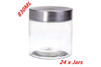 24 X Screw Top Storage Kitchen Glass Jars 830ML STAINLESS STEEL LID Cookie Jar