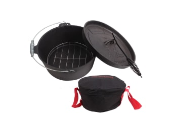 CAMPFIRE CAST IRON OPEN FIRE COOKING POT CAMP OVEN WITH COVER & STEAM RACK NEW