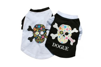Dogue Skull T-Shirt For Dogs (White) (M)
