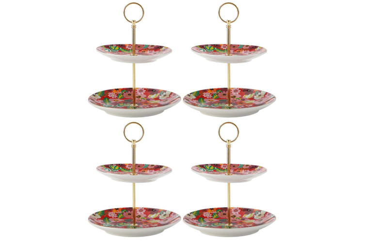 4PK Maxwell & Williams Teas & C's 2 Tier Cake Cupcake Stand Holder Poppy Red