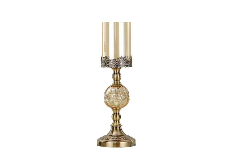 SOGA 42cm Glass Candle Holder Candle Stand Glass/Metal with Candle