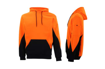HI VIS Safety Fleece Pull Over Hoodie Jumper Jacket Workwear Kangaroo Pen Pocket - Fluro Orange / Navy - Fluro Orange / Navy