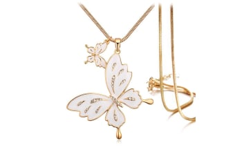 Sweet Butterfly Long Necklace White Embellished with Swarovski crystals