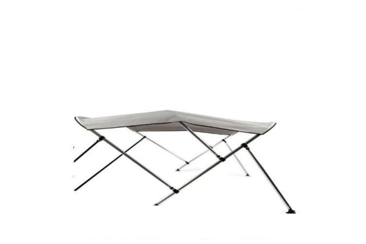 Kaiser Boating Low Profile 3 Bow 1.3-1.5m Bimini Top Boat Canopy - 85cm height - 180cm length - Light Grey - Complete kit includes Aluminium Frame + 600D Oxford Polyester Cover + Rear Poles + Sock
