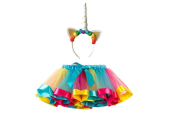 Unicorn Tutu with Headband in Rainbow- Large
