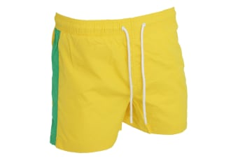Brave Soul Mens Swimming Shorts With Side Stripe And Drawcord (Yellow/Green)