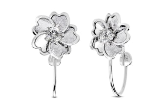 .925 Line Clip-On Earrings-Silver/Clear
