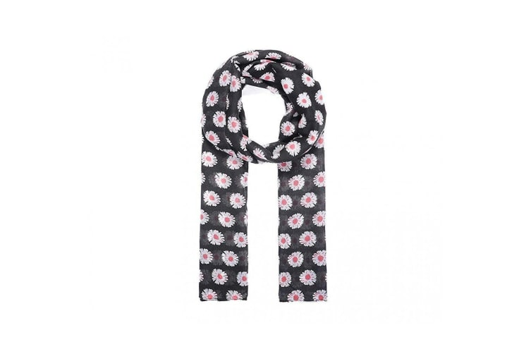 Intrigue Womens/Ladies Repeat Daisy Print Scarf (Black) (One Size)