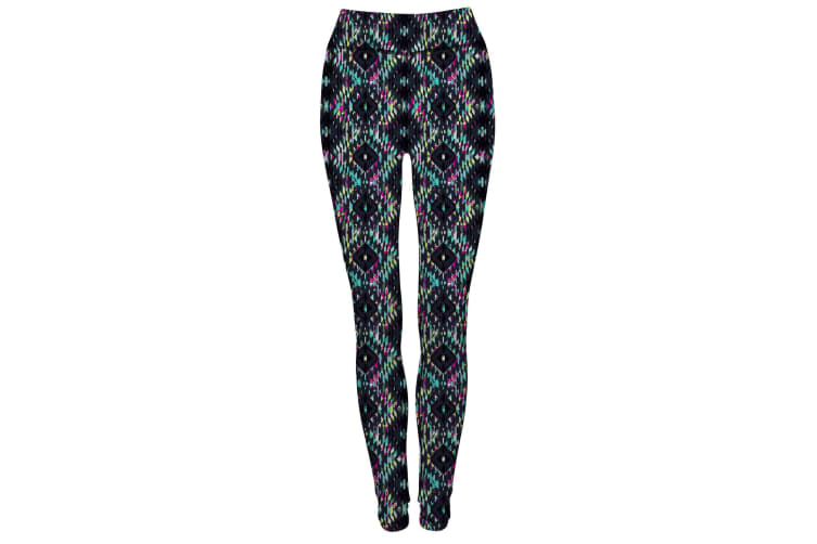 Skinnifit Womens/Ladies Reversible Work-Out Leggings (Charcoal / Bright Aztec) (S)