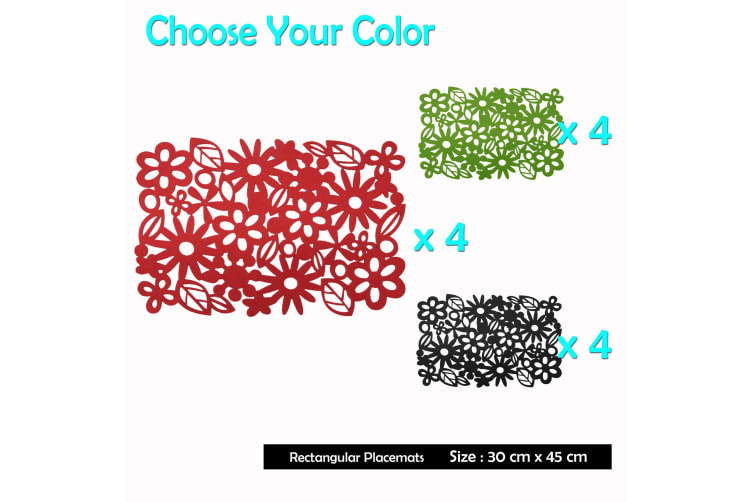 Felt Rectangular Table Placemats Red by Choice