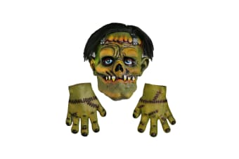 Scream Machine Frankenstein Latex Halloween Mask With Hands (Green) (One Size)