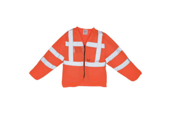 Yoko Mens Executive Hi-Vis Long Sleeve Safety Waistcoat (Hi Vis Orange)