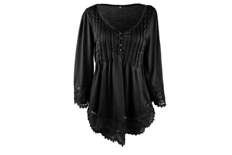 Women's Flare Sleeve Lace Splice Loose Trim Casual Blouse T-shirt Tops L