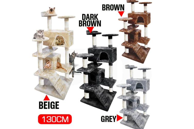 Pawz 0.8-2.1M Cat Scratching Perch Post Tree Gym House Condo Furniture Scratcher  -  2.1m in Grey