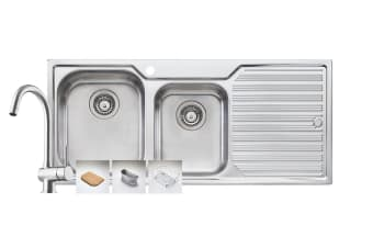 Oliveri Aussie Diaz 1 & 3/4 Bowl Topmount Sink With Drainer And Goose Neck Mixer Tap Pack (AD111)