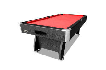 7FT MDF Pool Table Snooker Billiard Table with Accessories Pack, Black Frame with Red Felt