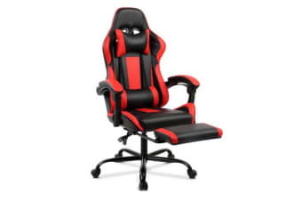 Gaming Chair Office Computer Seating Racing PU Leather Executive Racer (Black/Red)