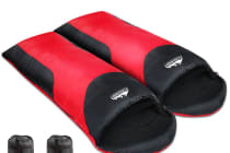Set of 2 Camping Sleeping Bag  -15 to 10 (Red/Black)