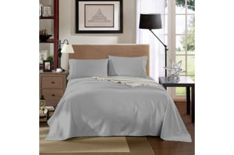 Kensington 1200 Thread Count 100% Egyptian Cotton Sheet Set Stripe Hotel Grade - Single - Silver