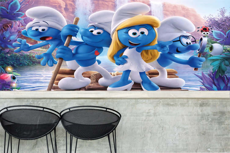 3D The Smurfs Boating 44 Anime Wall Murals Self-adhesive Vinyl, XXL 312cm x 219cm (WxH)(123''x87'')
