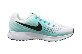 Nike Women's Air Zoom Pegasus 34 Running Shoe (White/Black/Aurora Green, Size 5)