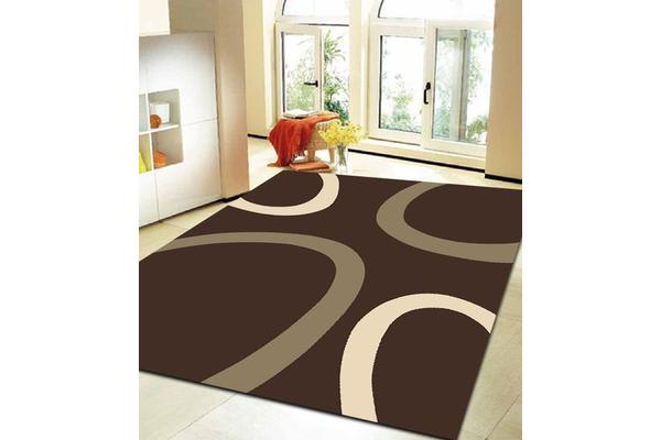 Uber Cool Cream and Brown Swish Rug 230x160cm
