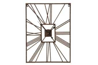 45x60cm Grayson Wall Clock Analogue Mountable Home Decor Brown Metal
