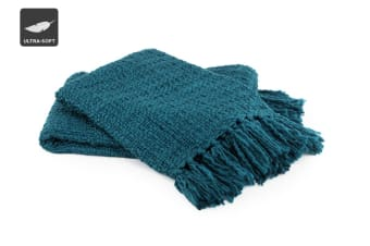 Ovela Chunky Knitted Throw with Fringes (Teal)
