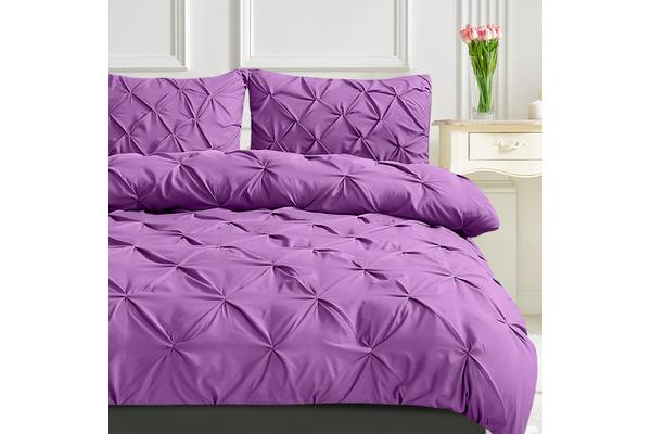 Diamond Pintuck Bed Duvet/Doo/Quilt Cover Plum Double