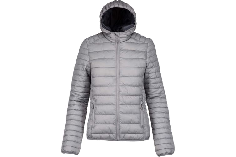 Kariban Womens/Ladies Lightweight Hooded Padded Jacket (Marl Silver) (L)