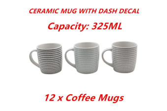 12 x 325ml Coffee Mug Ceramic Mugs with Dash Decal Drinking Tea Cup Party Event