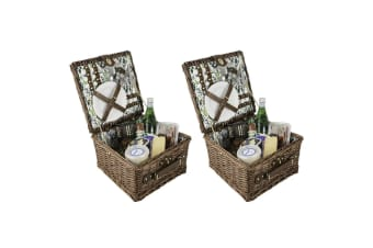 2PK Avanti 2 Person Picnic Basket Outdoor Travel Park Picnicware w Handle Cactus