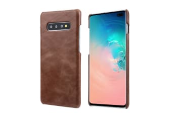 For Samsung Galaxy S10 Case  Coffee Elegant Genuine Leather Back Phone Cover