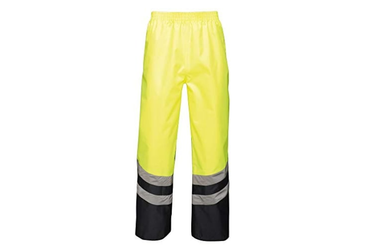 Regatta Unisex Hi Vis Pro Reflective Work Over Trousers (Yellow/Navy) (S)