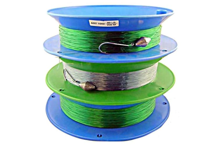 3 x 10 Inch Hand Casters Pre Rigged with 200m of 60lb Mono Fishing Line