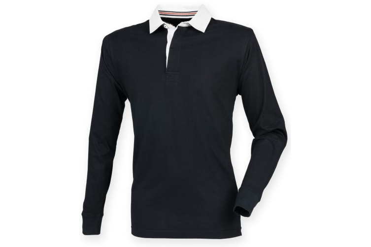 Front Row Mens Premium Long Sleeve Rugby Shirt/Top (Black) (L)
