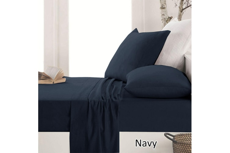 Easy-care Micro Flannel Sheet Set Navy Queen