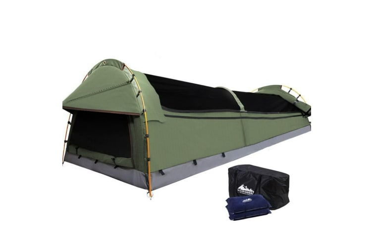Double Swag Camping Swags Canvas Tent Deluxe Aluminum Poles & Bag