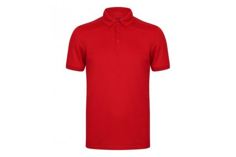 Henbury Mens Stretch Microfine Pique Polo Shirt (Red) (S)