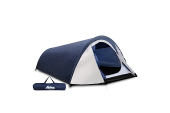 2-4 Person Canvas Dome Camping Tent (Navy/White)